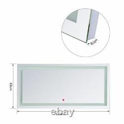 Large Wall Mounted Bathroom Mirror 120cm Anti Fog Illuminated LED Light Bath