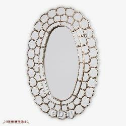 Large Wall Oval Mirror style Cuzcaja, Astral King Sun- wood bathed Silver Leaf