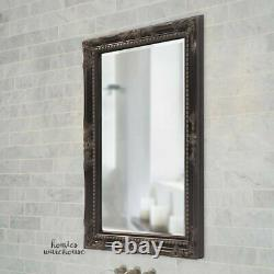 Large Wall Vanity Mirror Wood Ornate Scrolls Antiqued Black Beveled French Style