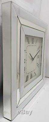 Large White Mirrored Wall Clock Sparkly Silver Border 50x50cm