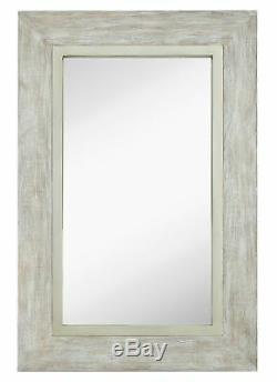 Large White Washed Framed Mirror Beach Distressed Frame Solid Glass Wall