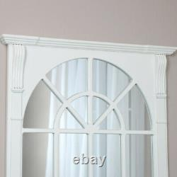 Large White Wooden Window Mirror vintage rustic wall shabby chic farmhouse