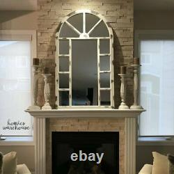 Large Window Pane Mirror Rustic White Solid Wood Frame Hanging Vanity Wall Decor