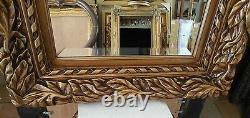Large Wood/Resin 27x31 Rectangle Beveled Framed Wall Mirror