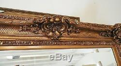 Large Wood/Resin Gold Louis XV 45x55 Rectangle Beveled Framed Wall Mirror
