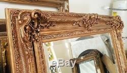 Large Wood/Resin Gold Louis XV 48x60 Rectangle Beveled Framed Wall Mirror