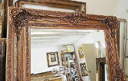 Large Wood/Resin Gold Louis XV 56x84 Rectangle Beveled Framed Wall Mirror