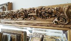 Large Wood/Resin Louis XIV 46x53 Rectangle Beveled Framed Wall Mirror