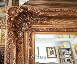 Large Wood/Resin Louis XV 53x75 Rectangle Beveled Framed Wall Mirror