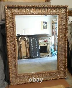 Large Wood/Resin Ornate 51x63 Rectangle Beveled Framed Wall Mirror