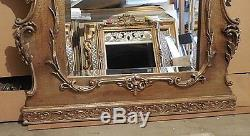 Large Wood/Resin Trumeau 40x80 Oil Painting And Beveled Framed Wall Mirror
