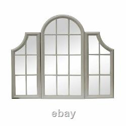 Large Wooden Triple WindowithWindowpane Frame Mirror/Stone Grey Painted