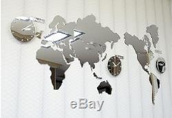 Large World Map Wall Clock Mirror DIY Sticker 3Clock Puzzle Decor Interior Gift