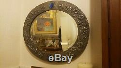 Large antique Arts & Crafts pewter beaten wall mirror 1917 measures 2' x 22