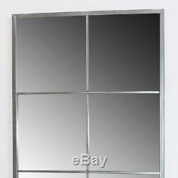 Large brushed silver rectangle window style wall mirror rustic industrial decor
