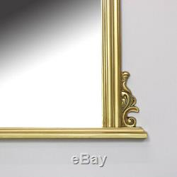 Large gold overmantel wall mirror vintage French shabby chic living room hallway