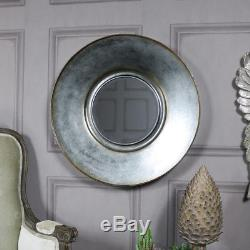 Large grey bronzed patina round wall mirror shabby vintage chic home decor gift