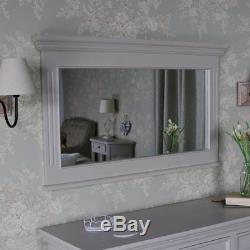 Large overmantle wall mirror taupe grey vintage country home living room hallway