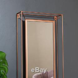 Large rectangle metal copper colour framed wall mirror vintage retro chic vanity