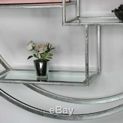 Large round antique silver bevelled mirror wall shelf display unit vintage home