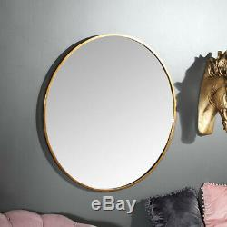Large round gold framed wall mounted mirror vintage chic bathroom living room