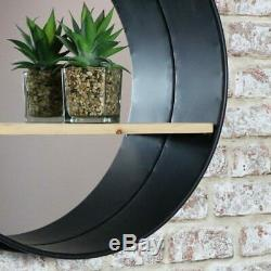 Large round metal industrial wall mirror shelf display rustic retro home display