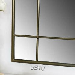 Large rustic grey metal frame arch window style wall mirror living room hallway