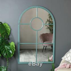 Large tall rustic arched window mirror style wall floor leaner home garden decor