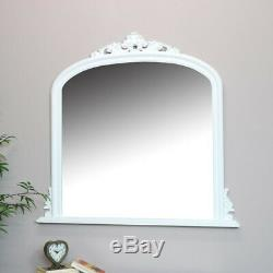 Large white overmantel wall mirror vintage French shabby chic living room hall