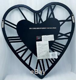 Love Heart Design Silver Mirrored Wall Clock Extra Large 70x70cm
