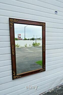 Mahogany Carved Large Wall Bathroom Vanity Mirror with Gold Highlight 1369