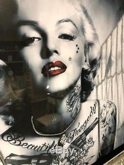 Marilyn Monroe Large Glitter Wall Art Picture And Mirrored Crushed Crystal Frame