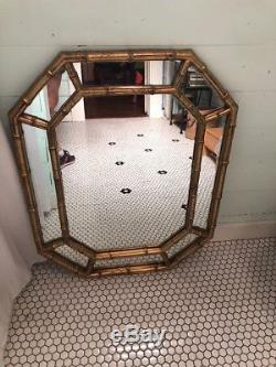 Mid Century Large Gold Gilt Wall Mirror Octagon Faux BAMBOO Chinoiserie