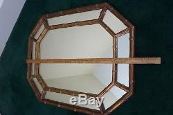 Mid Century Large Gold Gilt Wall Mirror Octagon Shape Faux BAMBOO Chinoiserie