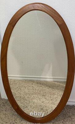 Mid Century Modern Pedersen & Hansen Teak Large Oval Wall Mirror Danish
