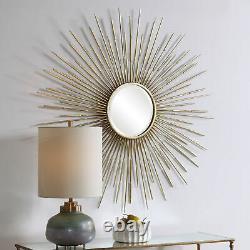 Mid Century Modern Sunburst Wall Mirror Antiqued Gold Starburst Large Oversize
