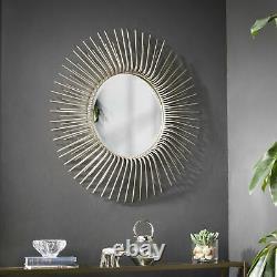 Midcentury Sunburst Wall Mirror Large Round Bathroom Vanity Hallway Accent Decor