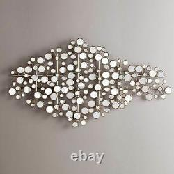 Mirrored Metal 3-D Wall Art Sculpture Abstract Silver Fish Shape Coastal Decor