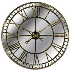 Mirrored WALL CLOCK Skeleton Style Brass Finish LARGE 80cm Contemporary Clock