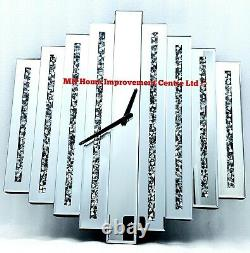 Mirrored Wall Clock Large Square Sparkly Silver Diamond Crush Crystal FLAWED