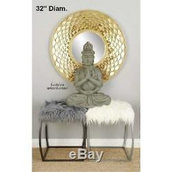 Modern Gold Wall Mirror Large Round Metal Glam Sculpture Frame Decorative Accent