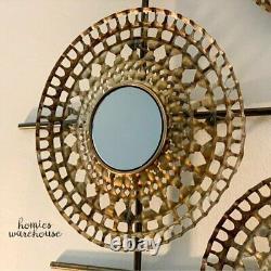 Modern Metal Wall Art Decor 3D Bronze Circles Mirrored on Hanging Grid Sculpture