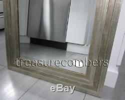 Modern Silver Champagne Beveled Stepped Edge Wood Vanity Wall Mirror Large Chic