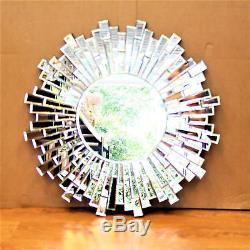 Modern Unique 3D Sunburst All Glass Venetian Round Wall Mirror 76CM Large
