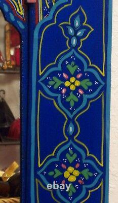 Moroccan Wall Mirror withDoors Hand Painted Arabesque Handmade Decor XL Blue