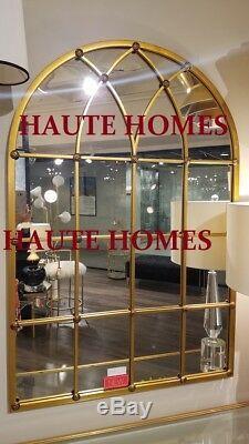 NEW STUNNING LARGE WINDOW PANE ARCH GOLD WALL Floor Mirror