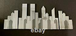 NEW YORK MANHATTAN Skyline 3-pc Frameless Large WALL MIRROR Twin Towers 41 x 60