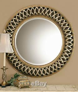 New Large 45 Round Antiqued Silver & Gold Wall Mirror Contemporary Woven Style