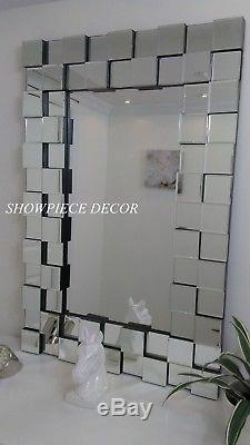 New Large 47.5 Modern Venetian Wall Vanity Mirror Cubic Frame