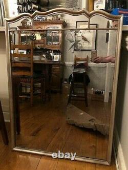 New Large Beveled Wall Mirror Silver Frame 41x29 Antiqued Mirror Glass wHangers